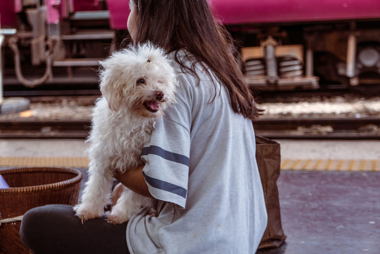 Animal Themes Day Dog Domestic Animals Friendship Mammal One Animal One Person Outdoors People Pets Poodle Real People West Highland White Terrier Young Adult