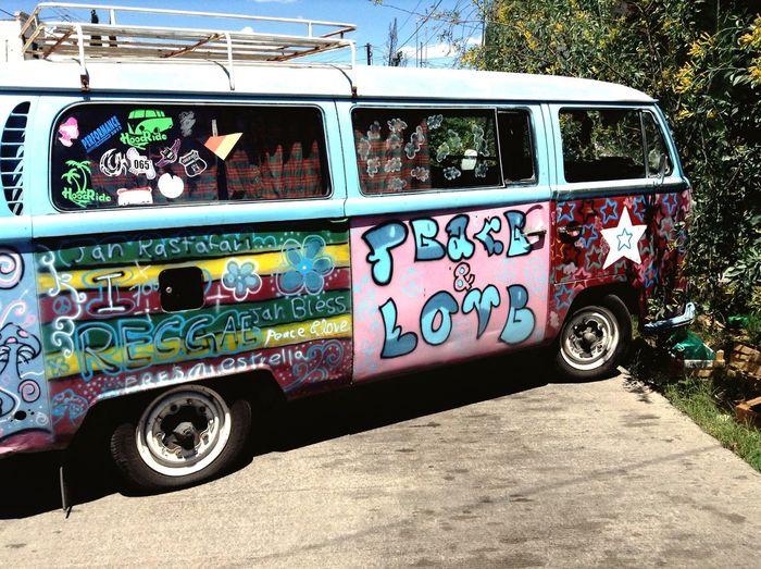 Peace Love Walkswagen Combi Hippie