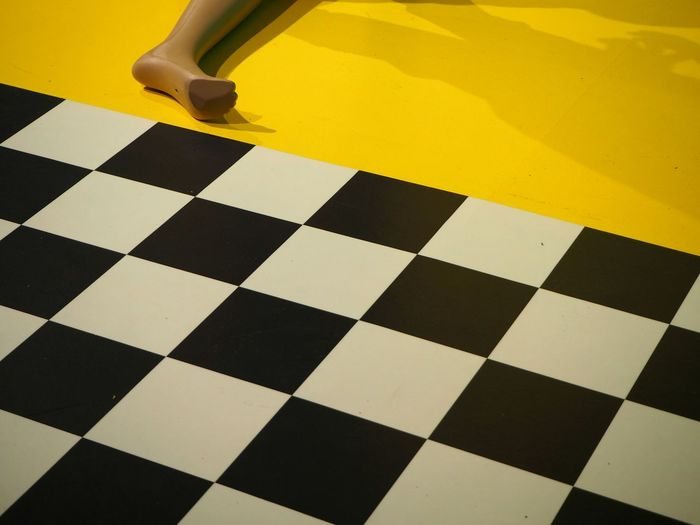Paint The Town Yellow Checked Pattern Geometric Shape Indoors  Yellow Pattern Close-up Minimalism