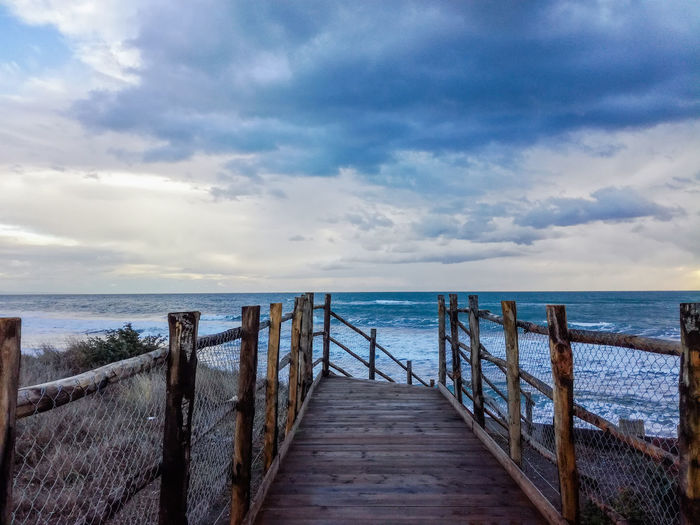 Beauty In Nature Cloud - Sky Day Horizon Over Water Nature No People Outdoors Pier Railing Scenics Sea Sky Tranquil Scene Tranquility Water Wood - Material