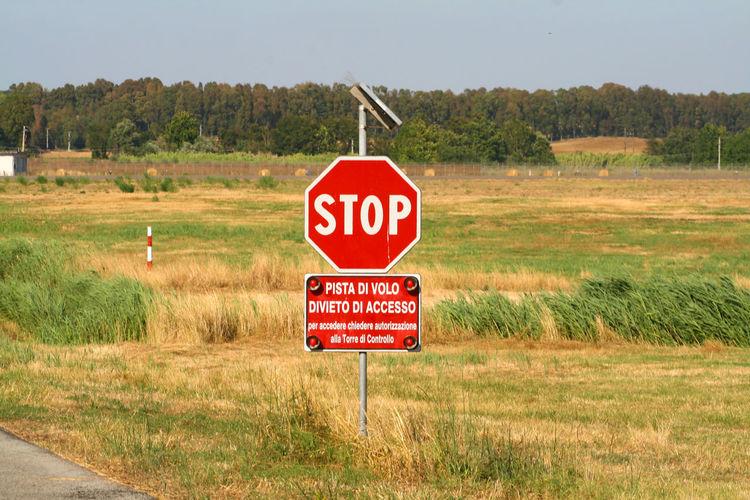 Warning sign on field
