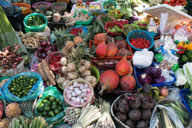 Vietnam Market Market Stall Vegetable Fruits Fruit And Vegetable Hanoi Hanoi Vietnam  Carrots Pumpkin Food Choice Healthy Eating Variation Fruit Freshness Large Group Of Objects Abundance Retail  Wellbeing No People In A Row High Angle View Freshness Healthy