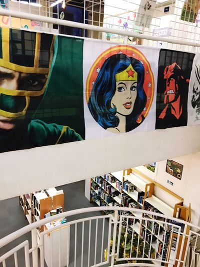 Multi Colored Retail  Variation No People Outdoors Day Close-up Bibliotheque Wonderwoman Kick-Ass Superheroes Comics Films Book
