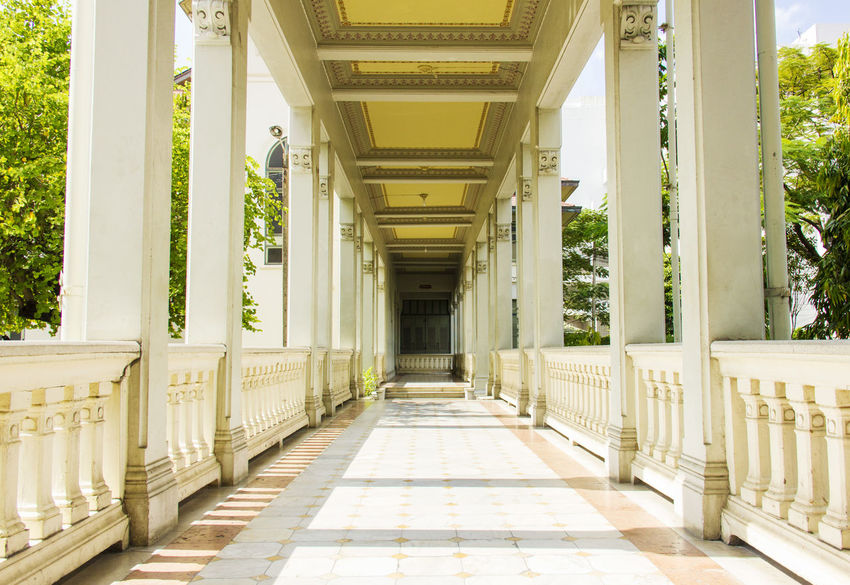 Pathway of European architecture building European Architecture Flooring Hallway Historical Building Terrace Architectural Column Architecture Building Interior Floor Tiles Indoors  Mid Century Architecture Old Building  Pathway Pedestal Route Skywalk The Way Forward Walkway Way