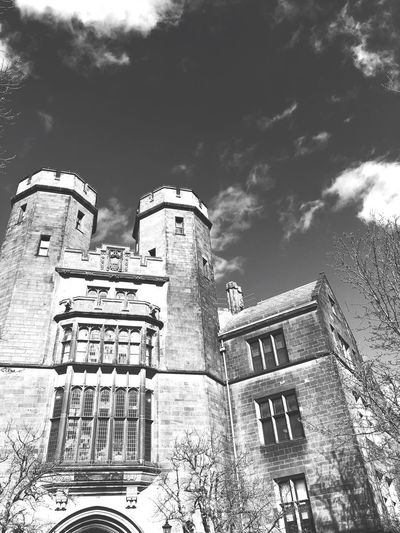 Black And White Yale Architecture Built Structure Low Angle View Building Exterior Sky Cloud - Sky