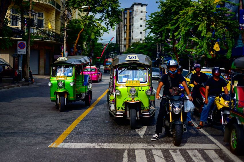City Street Transportation Street City Life City Public Transportation Mode Of Transport Outdoors Road Day Motorcycle Tricycles  Tuk Tuk In Bangkok Tuk Tuk Thailand Tricycle Bangkok Tricycle Thailand EyeEmNewHere Adventures In The City