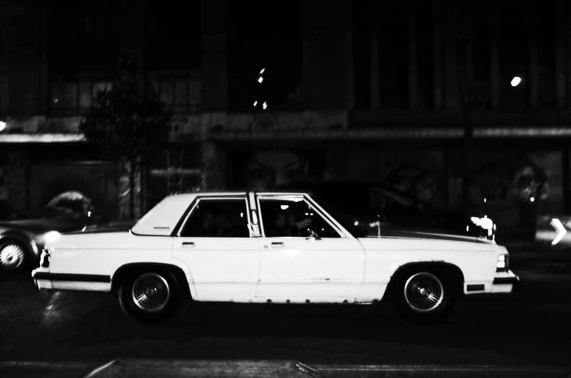 Vintage car at night