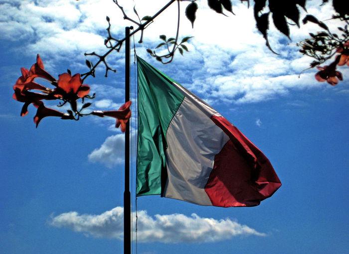 Cloud Cloud - Sky Flag Italy Flag Low Angle View No People Outdoors Sky
