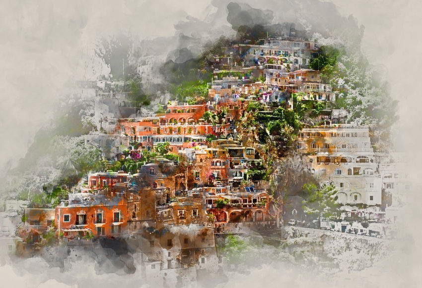 Digital watercolor painting of Positano. Positano is a small picturesque town on the famous Amalfi Coast in Campania, Italy. Altered Amalfi Coast Architecture Art ArtWork Campania Digital Art Digital Painting Digital Watercolor Digitally Generated Famous Place Hi Houses Illustration Italian Italy Landscape Painting Positano, Italy Rooftops Scenery Tourism Tourist Resort Travel Destinations Watercolor