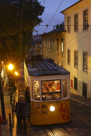 Elevador da Gloria at Dusk, Lisbon, Portugal Architecture Building Exterior City Day Elevado Glory Illuminated Lisbon Lissabon Night No People Outdoors Portugal Sky Standseilbahn Tramcar Tranquility