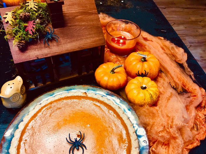 High angle view of pumpkin pie on table