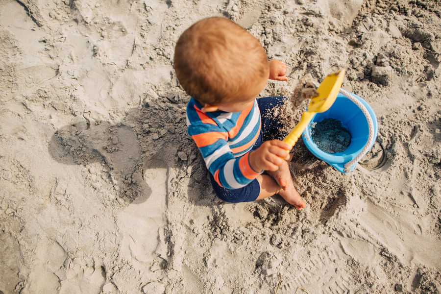 Beach Boy Childhood Day Digging One Person Outdoors People Sand Sand Pail And Shovel Summer Toddler