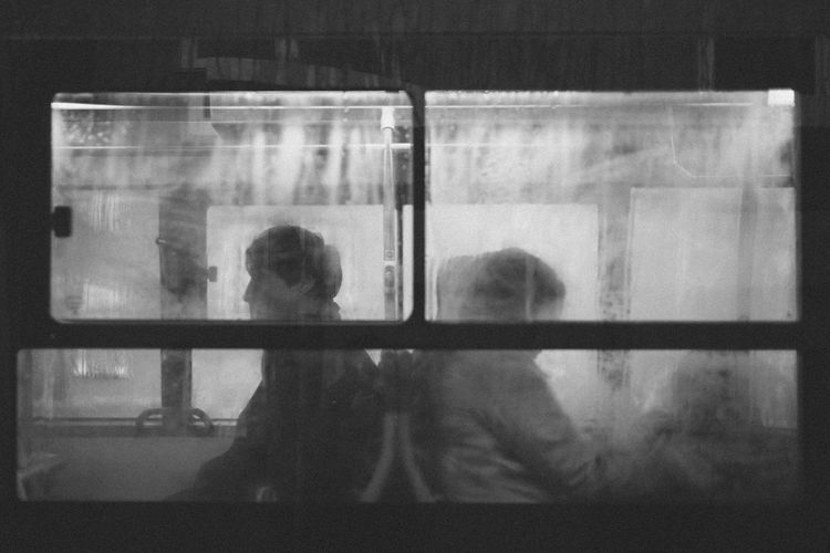 Silhouette Blackandwhite Bus Looking Through Window Monochrome Streetphotography Window