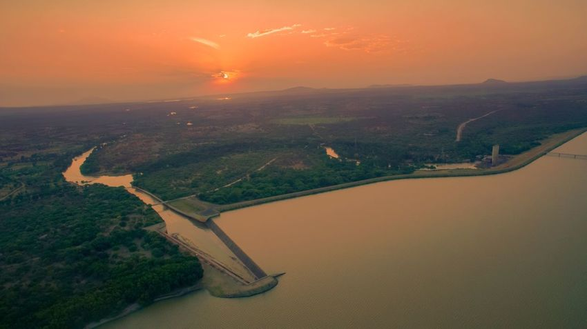 Good morning from Masinga dam Water River Beauty In Nature Nature Scenics Sunset No People Dam Outdoors Aerial View Hydroelectric Power Built Structure Sky Landscape Architecture Day