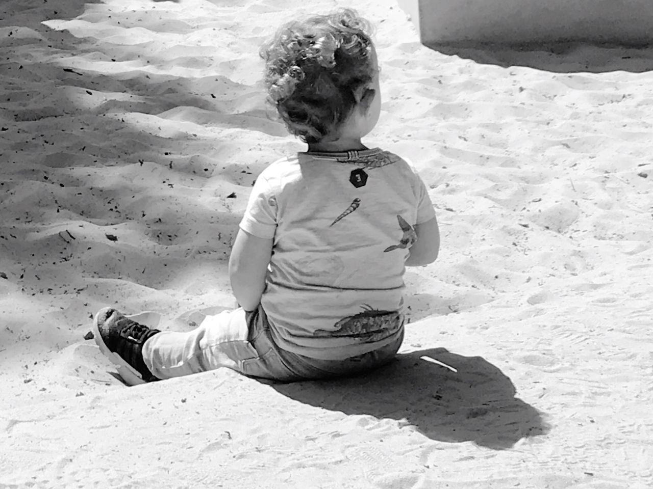 child, childhood, real people, one person, sunlight, sand, sitting, land, leisure activity, day, boys, nature, lifestyles, full length, men, high angle view, shadow, males, innocence