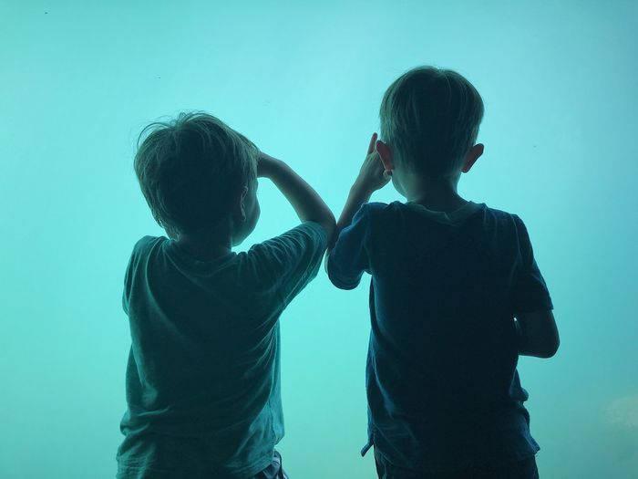 Rear view of boys standing against turquoise fish tank in aquarium