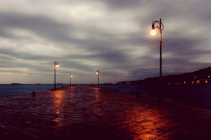 Night Lighting Equipment Sea Water Street Light Vacations Illuminated Sky Outdoors Cloud - Sky Tranquility Travel Destinations No People Italy Trieste