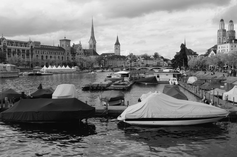 Black & White Cityscape Fraumünster Limmat St Peter Architecture Blackandwhite Building Exterior Built Structure City Cloud - Sky Day Grossmünster Mode Of Transport Monochorme Moored Nautical Vessel No People Outdoors River Sky Transportation Travel Destinations Water Waterfront