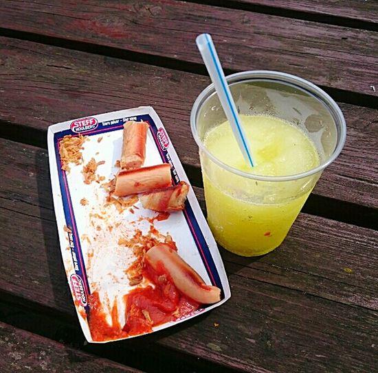 Fastfood Fast Food Slushy Slush Ice Slushie Sausage Sausages! Ketchup Relish Ontheside Takeout Takenbyme Denmark Pølsefest