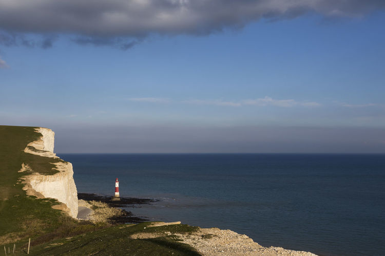 Beachy Head lighthouse seen from Seven Sisters cliffs, Seaford, East Sussex, England, United Kingdom Beach Beachy Beachy Head Beauty In Nature Cliff Cliffs Cloud - Sky Day East Sussex England Headshot Horizon Over Water Lighthouse Lighthouse Nature No People Outdoors Scenics Sea Seaford Seven Sisters Sky Tranquil Scene Tranquility Water