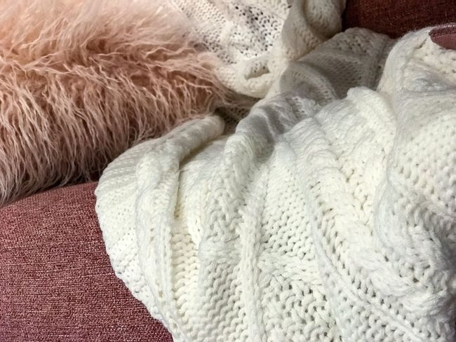 Sweater Fur Sweater Indoors  No People Furniture Relaxation White Color Wool Softness Comfortable Towel Home Interior Still Life