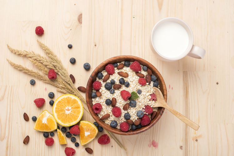 Blueberry Brakefast Diet Food Food And Drink Food And Drink Freshness Fruit Health Healthy Eating Indoors  Ingredient Milk No People Oat Oatmeal Raspberry Table