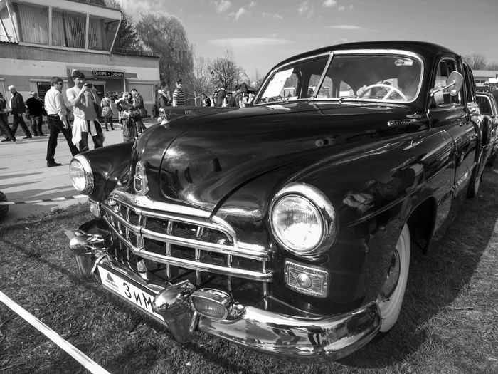 Old Car Fest. GAZ-12 ZIM Antique Blackandwhite Car Classic Damaged Day Farsta Front View GAZ-12 Kiev Land Vehicle Mode Of Transport Monochrome Old Outdoors Retro Stationary Street Transportation Ukraine Vintage Zim