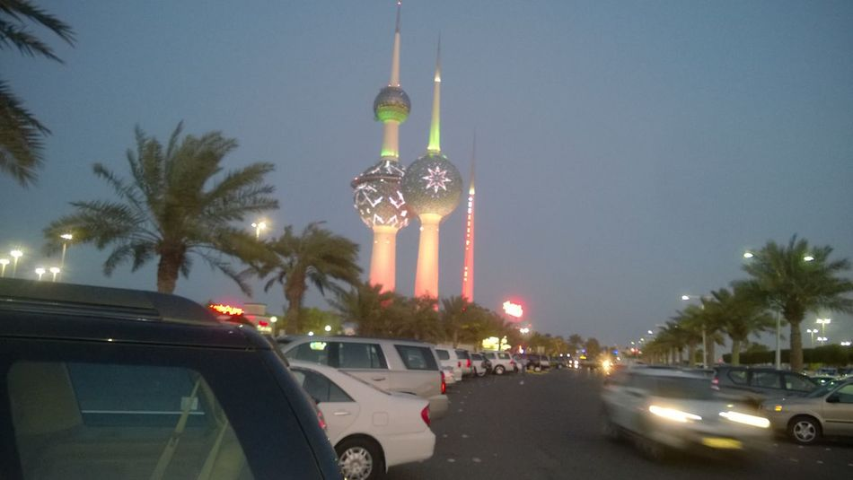 Illuminated Kuwait Towers Night No People Outdoors Street Light