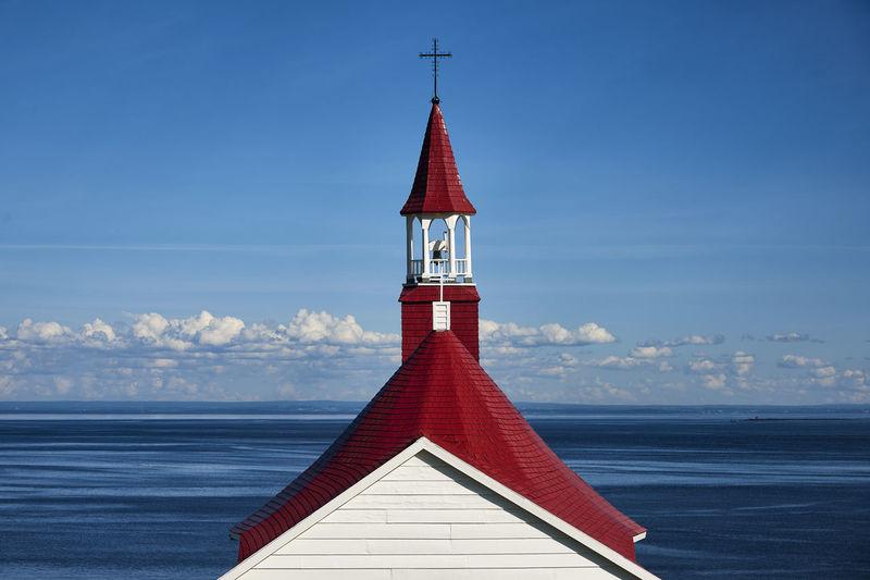 The Chapel Chapel Quebec Red Bleu Blue Canada Chapelle Fleuve River Rouge Sky