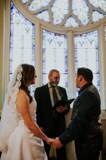 Just married. Bride Indoors  Adults Only Young Adult Wedding Standing Friendship Togetherness Well-dressed Life Events Wedding Dress People Men Adult Wedding Ceremony Day