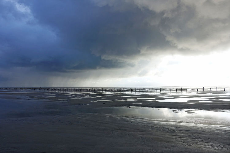 Beach Seaside St. Peter Ording Mystic Light Cloudy Wadden Sea Mudflat Before The Storm Clouds And Sky