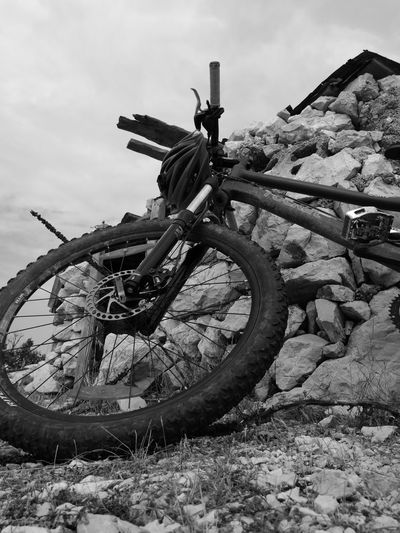 Wheel Transportation Mode Of Transport Land Vehicle Sky Driftwood Outdoors Field Stationary Damaged Nature Day The Past No People Stone Non-urban Scene Mtbpassion Mtb Love MTB ADVENTURE MTB Biking Cloud - Sky Low Angle View Plant Dead Plant