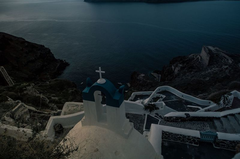 Oia, Santorini Sea High Angle View Outdoors Nature No People Day Cliff Scenics Horizon Over Water Water Beauty In Nature Whitewashed Sky Oia Santorini Greece Moonshine Blue Dark Overlook Greek Islands The Great Outdoors - 2017 EyeEm Awards Lost In The Landscape