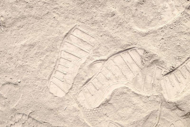 Sand Beach Backgrounds Textured  Pattern Full Frame Close-up FootPrint Track - Imprint
