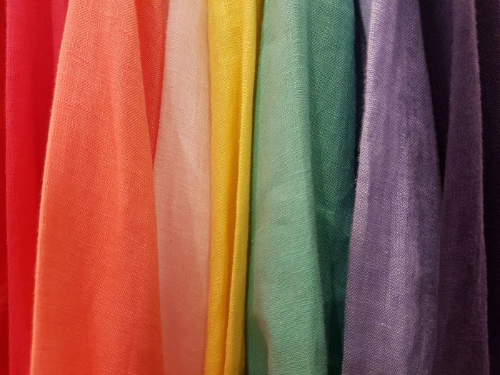 Full frame shot of multi colored fabrics in store
