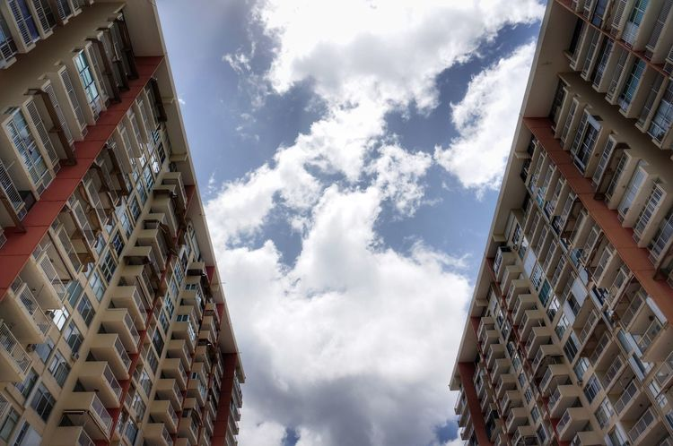 From My Point Of View Architecture Building Exterior Building Low Angle View Sky Cloud Cloud And Sky Tall Directly Below Residential Structure Day Residential Building Outdoors Architectural Feature City Life Mirror Image Exterior Taking Photos Twins Two Is Better Than One