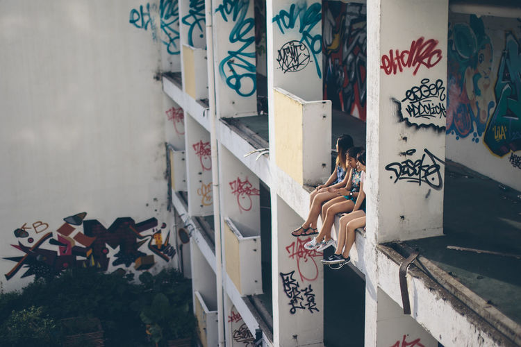 Back to the memory Abandoned Abandoned Buildings Abandoned Places Architecture Art ArtWork Built Structure Day Grafitti Information Multi Colored Outdoors People Sitting Store The Week On EyeEm Editor's Picks