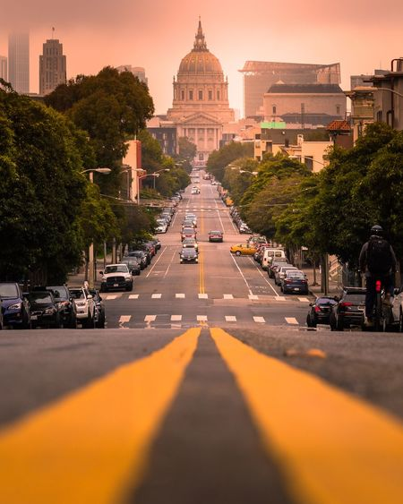 Road to city hall Luxlusive EyeEm Explore Building Summer Warm City Adventure Travel Nikon California Lines Architecture Road San Francisco Architecture Built Structure Tree The Way Forward Building Exterior Tourism Sunset Travel Destinations Outdoors Day Sky