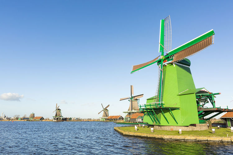 Zaanse Schans Alternative Energy Blue Environmental Conservation Nature Outdoors Reflection Renewable Energy Rural Scene Scenics Sky Tranquil Scene Tranquility Water Waterfront Wind Power Wind Turbine Windmill