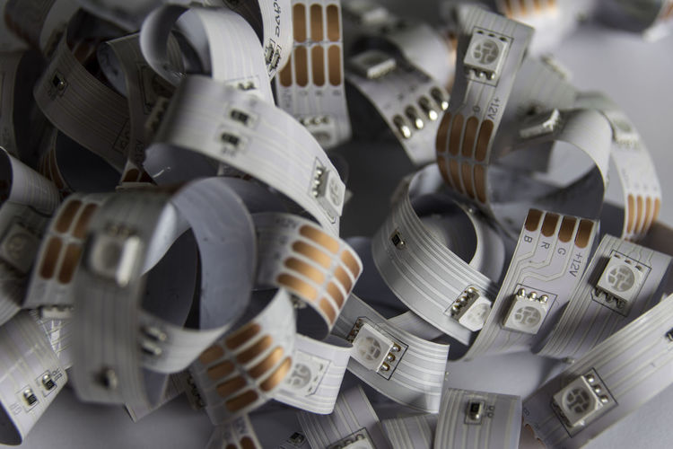 Close-up of tangled computer cable