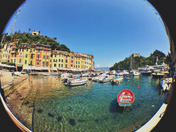 Fish Eye. EyeEm Gallery EyeEmNewHere Architecture Boat Building Exterior Built Structure City Clear Sky Day Fish-eye Lens Italy Mode Of Transport Moored Nautical Vessel No People Outdoors Popckorn Sky Transportation Water