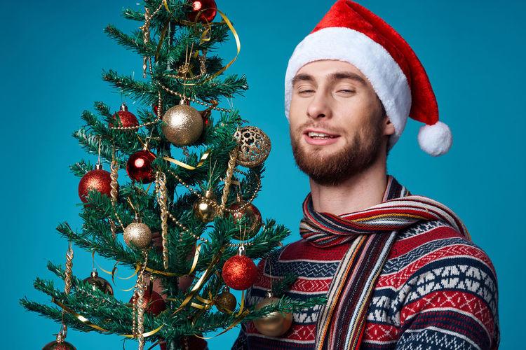 Low angle view of christmas tree