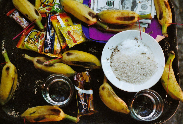Film 35mmstreetphotography Analogue Photography ASIA Vietnam Film Photography Banana Dollar Offering Rice Plate Superstition  Gourmet Appetizer Table Directly Above Vegetable Homemade Close-up Food And Drink