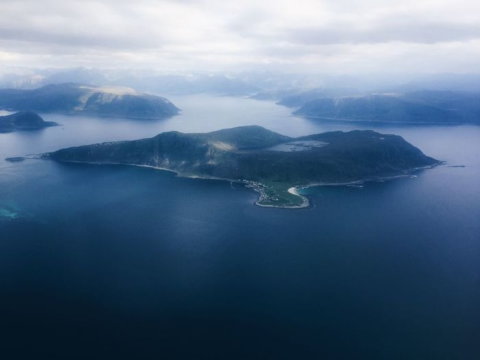 Flying and exploring nordic lands, islands and mountain range, aerial view