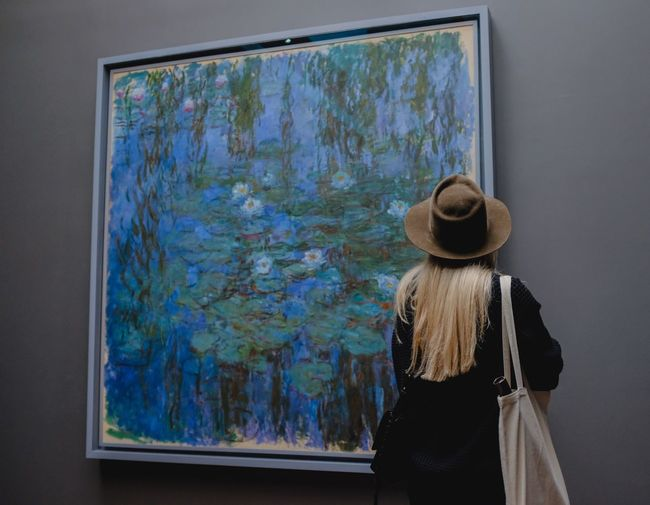 Rear View One Person Indoors  Leisure Activity Standing Casual Clothing Day Paint Creativity Nature Blue Art And Craft Women