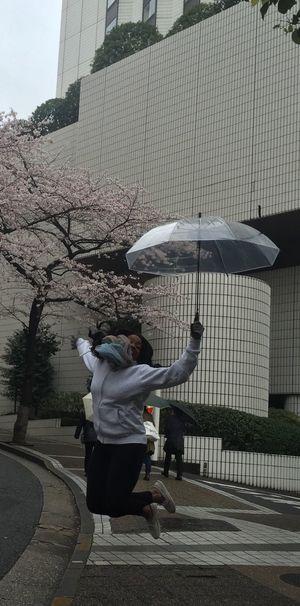 """YAY!!"" Jumping Street Photography Enjoying Life Hi! Cheese! Hello World That's Me Having Funn Travel Destinations Umbrellas Cherry Blossoms People Photography Tokyo Days Tokyo,Japan Tokyo"