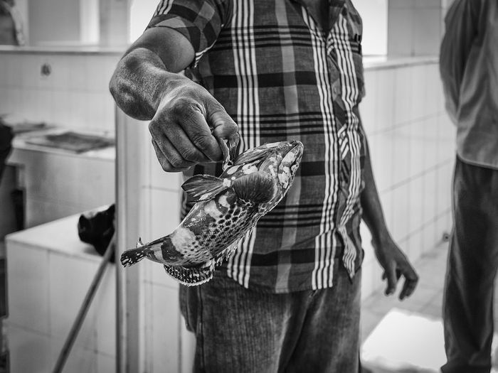 Midsection of man holding dead fish in market