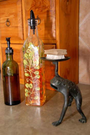 collection of unusual soap holders! Frog Standing On Two Legs Bottle Bottles Countertop Day Decorative Bottles Frog Statue Indoors  Kitchen No People Soap Dish Soap Dispenser Soap Holder Unique