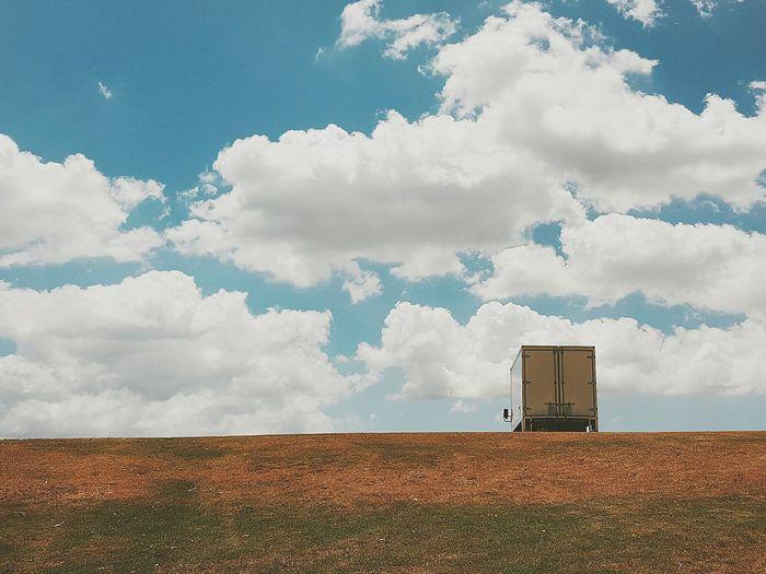 Truck on a hill Cloud - Sky Landscape Sky No People Nature Outdoors Day Truck WeekOnEyeEm Minimalist Grass Park