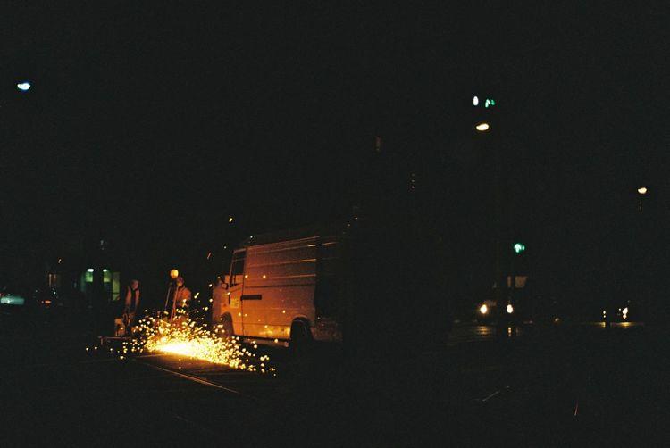 Cities At Night Construction Work Constructions Illuminated Night Spark Street Light Worker Overnight Success